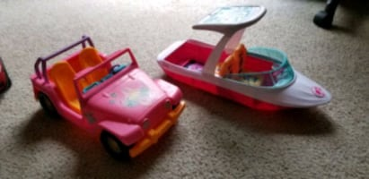 Barbie jeep and boat..