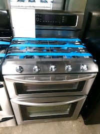 KITCHEN AID STAINLESS STEEL DOUBLE OVEN 5 BURNERS GAS STOVE