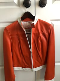 Real Leather jacket XS bought in Turkey. Great condition, wore twice. I think it's lamb skin leather. White and orange  Cambridge, N1T 0B3