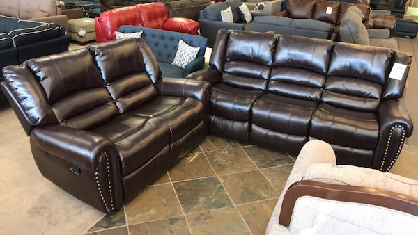 Brown Bonded Leather Sofa & Loveseat Recliners With Nailhead Set