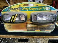 two black and yellow car headlights