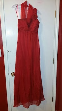 women's red tube gown small.