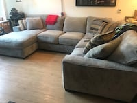 gray suede sectional sofa with throw pillows Seattle, 98103