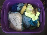 Tote full of assorted automotive detailing wash rags, sponges, wool shammies, wax pads etc