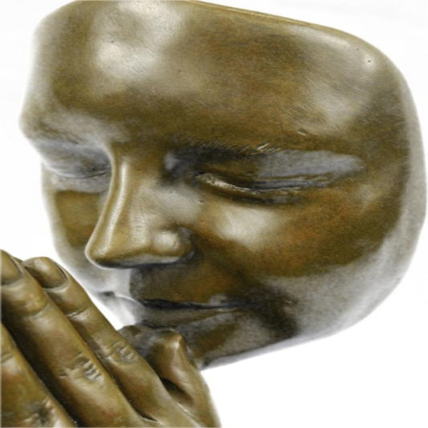 Amen Pray Bronze Sculpture on Marble Base Statue (13X9 Inches) cfc02671-bfc4-408b-a41a-495015cb4311
