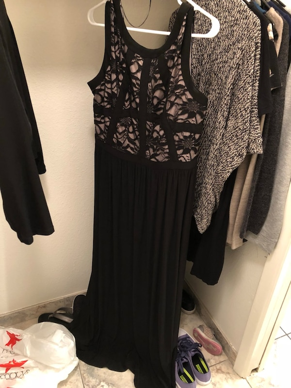 Women's black and brown floral gown size 16