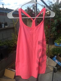 pink and black Vox spaghetti strap tank top