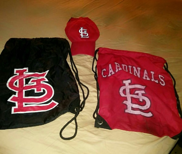 9dbe667acec Used red and black Saint Louis Cardinals drawstring backpacks and baseball  cap for sale in Wood River - letgo
