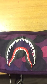 Purple, black, and pink camouflage a bathing ape mask