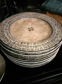 round brown and black wooden table