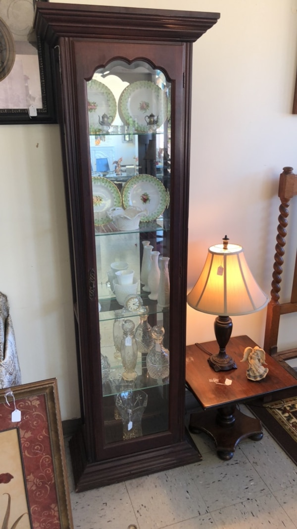 Used Curio Cabinet With Ligh And Glass Shelf S J J Furniture Decor