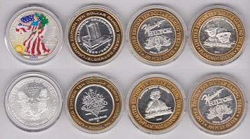 US Silver Coins with Silver Casino coins