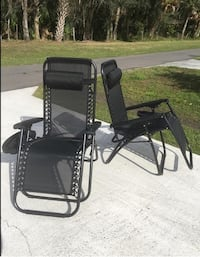 Brand New Set of 2 Black Lounge Pool Patio Chairs Outdoor Furniture