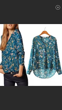 Blue Floral Blouse-New