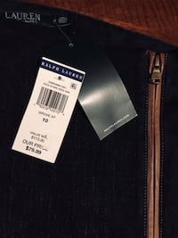 New Ralph Lauren denim and leather skirt, sz 10
