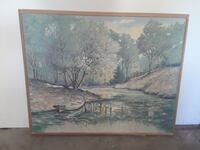 Brown wooden framed painting of river Fleetwood, 19522