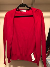 Red colored cardigan from Zara