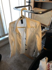 White 100% cotton dress blouse big buttons very sharp size large but fits smaller asking $5 see picture 3738 km