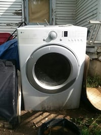 white LG front-load dryer