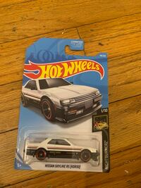 Black and gray hot wheels car die-cast model