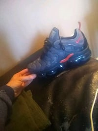 blue-and-red Nike Air Foamposite shoes 299 mi