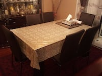 brown wooden dining table set with glass table. Pickering, L1W 2Z3