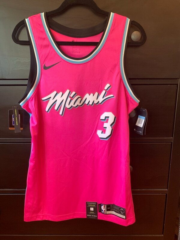 e5b2a8764d46 Dwyane Wade Miami Heat Sunset Vice Nike Earned Edition Jersey