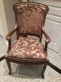 brown wooden framed brown floral padded armchair 558 km