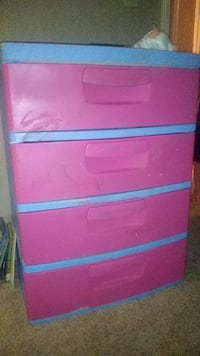 pink and blue wooden 3-drawer chest