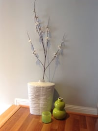 beautiful white vase, cool lime green vase and glass wind blown candle holder Toronto, M6S 3S5