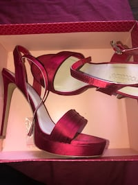 Pair of red leather open toe ankle strap heels great condition  Littlestown, 17340