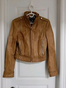 Tan leather jacket - Size M