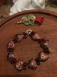 Beautiful!!! Burgundy Heart Bracelet with Crystal Stones Gainesville, 20155