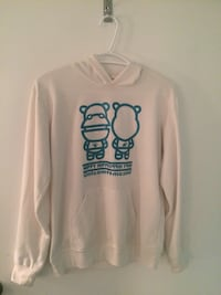 White and blue hippy hippo pull over hoodie