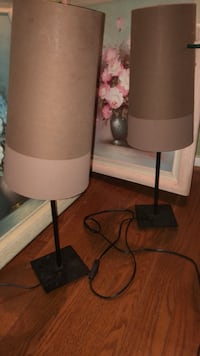 two brown-and-white table lamps Baltimore, 21209