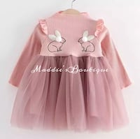 girl's pink long-sleeved dress Mission