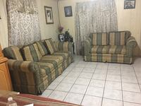 brown and gray fabric sofa set