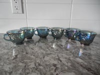 Carnival Glass (Blue Iridescent with grape pattern) Punch Glasses all for $20 PU Morinville