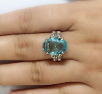 ladies blue stone and butterfly design ring  size 7 brand new