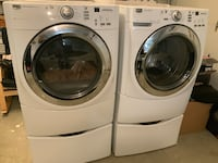 White front load washing machine and dryer set Los Angeles