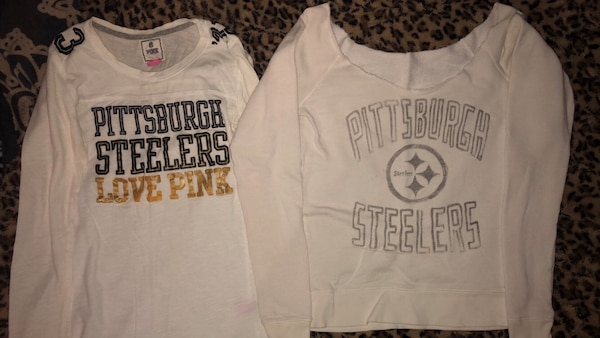 more photos 1fb8e bf7f5 two white Pittsburgh Steelers sweatshirts