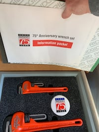 Ridgid pipe wrench collection. 75 anniversary set. Brand new in box