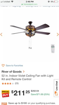 River of Goods 52 in. Indoor Violet Ceiling Fan with Light Kit and Remote Control Sugar Land