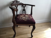 Antique Brown wooden frame red padded chair Hull, Gatineau, QC, Canada