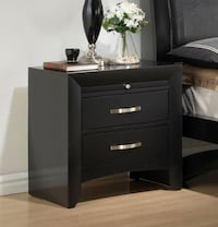 Brand New Galinda Black Wood 2-Drawer Nightstand w/ Pull-Out Tray by Crown Mark 2272 mi