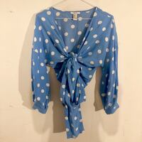 Forever21 Blue & White Polka Dotted Tie Blouse Toronto, M1C 5A1