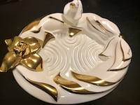 Large decorative ceramic gold plated dish