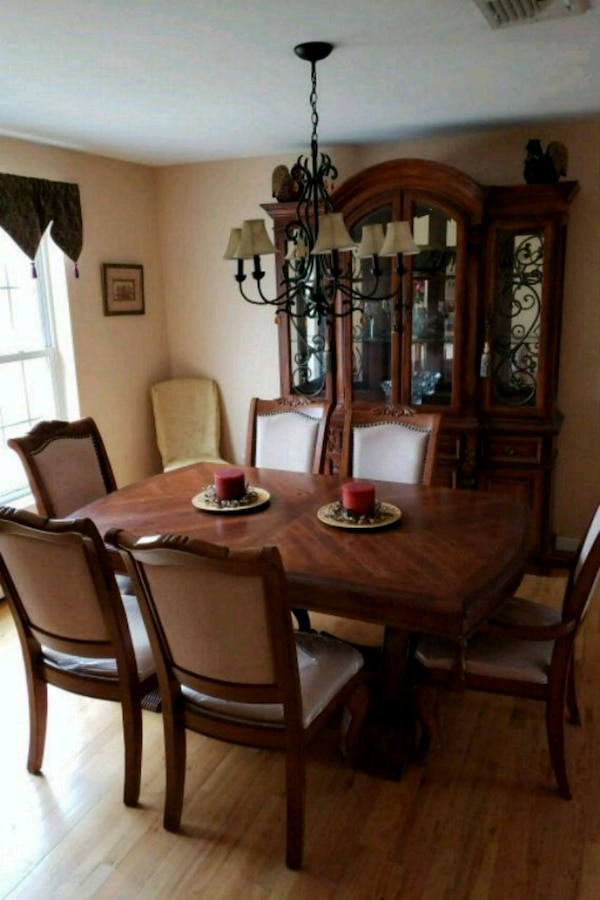 Used Dining Room Table With Leaf 6 Chairs And Hutch For Sale In