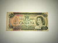 $20 Dollar Bill Canadian Bank Note 1969 Good Condition