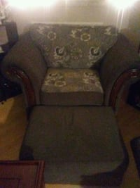 brown and gray floral chair